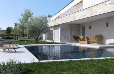 Porec 15 km, Lovrec 3 km - Building land with sea view + building permit for 2 luxury villas